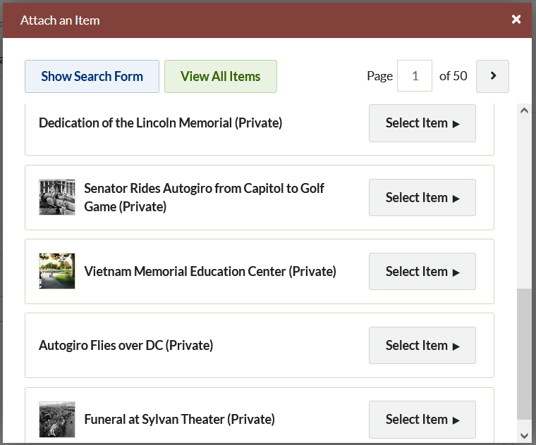 Attach an Item window with browse options