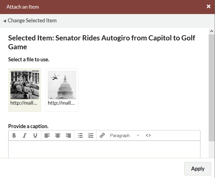 Attach an item, with three file options and a caption field.