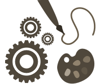 Gears, paintbrush, and palette representing Omeka Classic add-ons