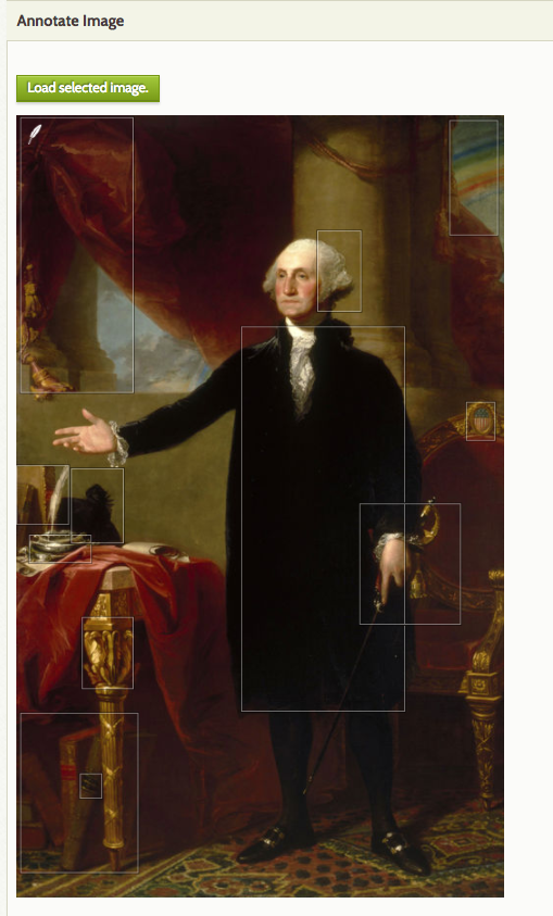 Admin side of an Omeka exhibit, focus on an Exhibit Image Annotation block with a portrait of George Washington loaded. There are multiple thin grey rectangles highlight portions of the portrait, including his hands, torso, and head; the leg of the table to his right, and the objects on the table.