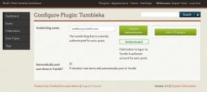 The Tumbleka configuration menu